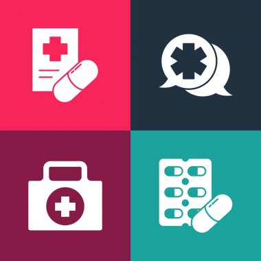 Set pop art Pills in blister pack, First aid kit, Dialogue with the doctor and Medical prescription icon. Vector. icon