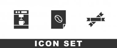 Set Coffee machine, poster and Sugar stick packets icon. Vector. icon