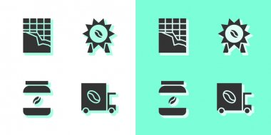 Set Coffee street truck machine, Chocolate bar, jar bottle and Medal for coffee icon. Vector. icon