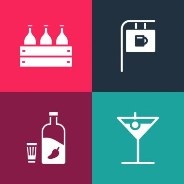 Set pop art Martini glass, Vodka with pepper and, Street signboard Bar and Bottles of wine wooden box icon. Vector. icon