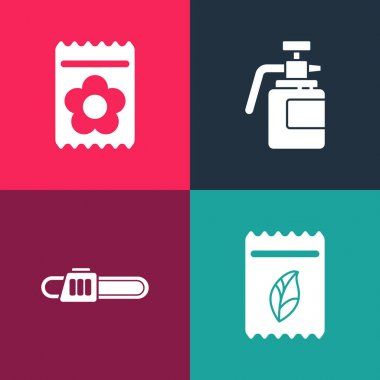 Set pop art Pack full of seeds of plant, Chainsaw, Garden sprayer for fertilizer and  icon. Vector. icon