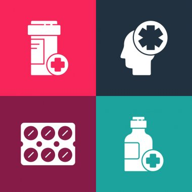 Set pop art Bottle of medicine syrup, Pills blister pack, Male head with hospital and Medicine bottle icon. Vector. icon