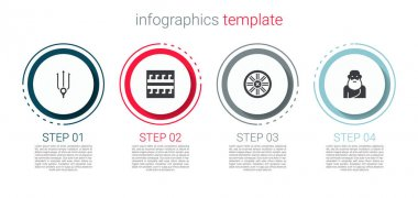 Set Neptune Trident, Ancient Greek pattern, Old wooden wheel and Socrates. Business infographic template. Vector.