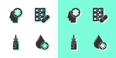 Set Blood test and virus, Male head with hospital, Bottle nasal spray and Pills in blister pack icon. Vector. icon