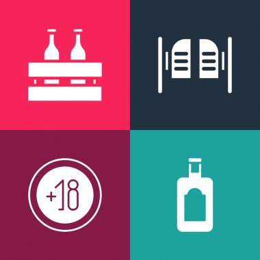 Set pop art Whiskey bottle, Alcohol 18 plus, Saloon door and Pack of beer bottles icon. Vector. icon