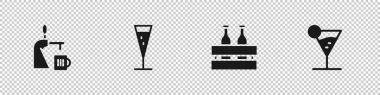 Set Beer tap with glass, Glass of champagne, Pack beer bottles and Martini icon. Vector. icon