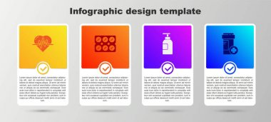 Set Heart rate, Pills in blister pack, Hand sanitizer bottle and Medicine. Business infographic template. Vector. icon