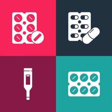 Set pop art Pills in blister pack, Medical digital thermometer,  and  icon. Vector. icon