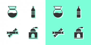 Set Manual coffee grinder, Pour over maker, Sugar stick packets and Bottle water icon. Vector. icon
