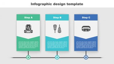 Set Hiking backpack, Snowshoes and Ski goggles. Business infographic template. Vector. icon