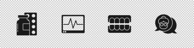Set Pills in blister pack, Monitor with cardiogram, False jaw and Grandmother icon. Vector. icon