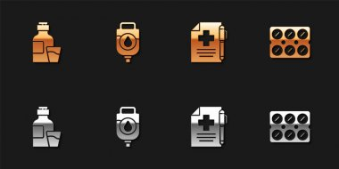 Set Bottle of medicine syrup, IV bag, Medical prescription and pen and Pills blister pack icon. Vector. icon