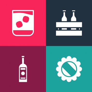 Set pop art Bottle cap, Glass bottle of vodka, Pack beer bottles and whiskey icon. Vector. icon