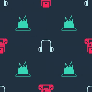 Set Hiking backpack, Winter headphones and Mountains on seamless pattern. Vector. icon