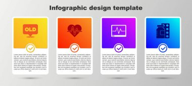 Set Nursing home, Heart rate, Monitor with cardiogram and Pills blister pack. Business infographic template. Vector. icon