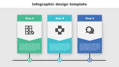 Set Pills in blister pack, Heart with cross and Dialogue the doctor. Business infographic template. Vector. icon