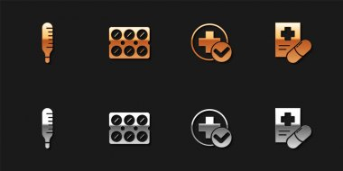 Set Medical thermometer, Pills in blister pack, Cross hospital medical and prescription icon. Vector. icon