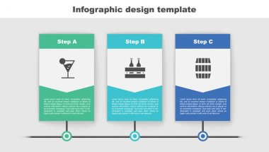 Set Martini glass, Pack of beer bottles and Wooden barrel. Business infographic template. Vector. icon