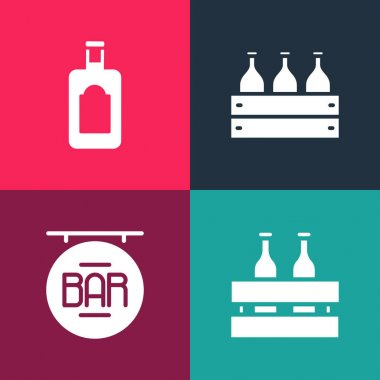 Set pop art Pack of beer bottles, Street signboard with Bar, Bottles wine in wooden box and Whiskey icon. Vector. icon