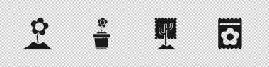 Set Flower, in pot, Tree and Pack full of seeds of plant icon. Vector. icon