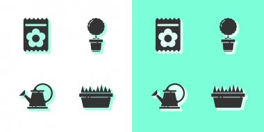 Set Fresh grass in a rectangular, Pack full of seeds of plant, Watering can and Flower pot icon. Vector. icon