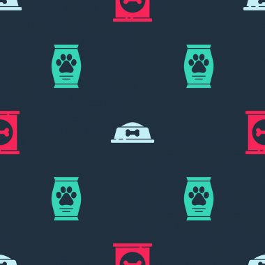 Set Canned food, Pet bowl and Bag of on seamless pattern. Vector. icon