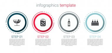 Set Cocktail, Pickled cucumbers in jar, Glass bottle of vodka and Bottles wine wooden box. Business infographic template. Vector. icon