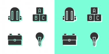Set Light bulb with concept of idea, School backpack,  and ABC blocks icon. Vector. icon