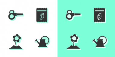 Set Watering can, Leaf garden blower, Flower and Pack full of seeds of plant icon. Vector. icon