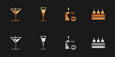 Set Martini glass, Glass of champagne, Beer tap with and Bottles wine wooden box icon. Vector. icon