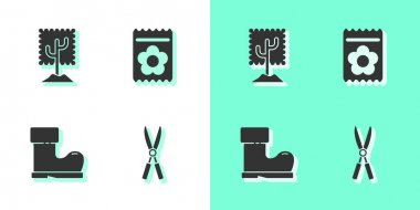 Set Gardening handmade scissors, Tree, Waterproof rubber boot and Pack full seeds plant icon. Vector. icon