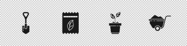 Set Shovel, Pack full of seeds of plant, Plant in pot and Wheelbarrow with dirt icon. Vector. icon