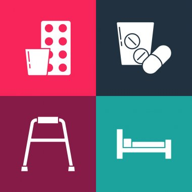 Set pop art Bed, Walker, Medicine pill or tablet and Pills blister pack icon. Vector. icon