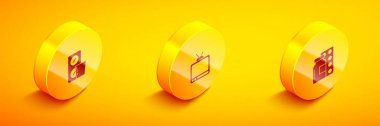 Set Isometric Pills in blister pack, Retro tv and  icon. Vector. icon