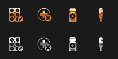 Set Pills in blister pack, Cross hospital medical, Medicine bottle and Medical thermometer icon. Vector. icon