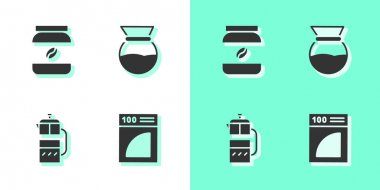 Set Coffee paper filter, jar bottle, French press and Pour over coffee maker icon. Vector. icon