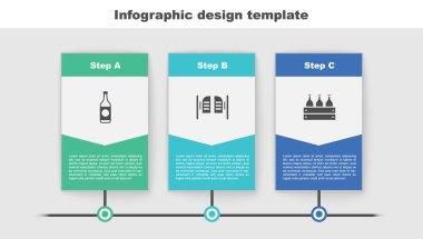 Set Beer bottle, Saloon door and Bottles of wine in wooden box. Business infographic template. Vector. icon