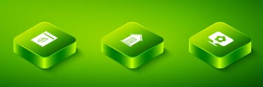 Set Isometric Farm house, Location with flower and Pack full of seeds of plant icon. Vector. icon