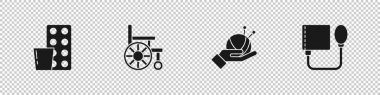 Set Pills in blister pack, Wheelchair, Yarn ball with knitting needles and Blood pressure icon. Vector. icon