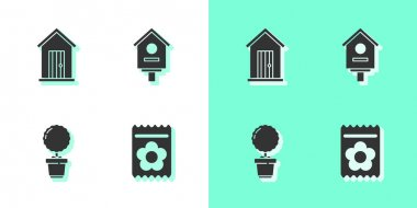 Set Pack full of seeds of plant, Farm house, Flower in pot and Bird icon. Vector. icon