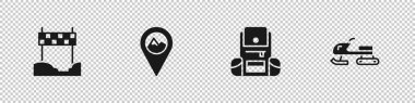 Set Ribbon in finishing line, Location with mountain, Hiking backpack and Snowmobile icon. Vector. icon