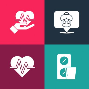 Set pop art Pills in blister pack, Heart rate, Nursing home and  icon. Vector. icon