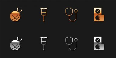 Set Yarn ball with knitting needles, Crutch or crutches, Stethoscope and Pills blister pack icon. Vector. icon