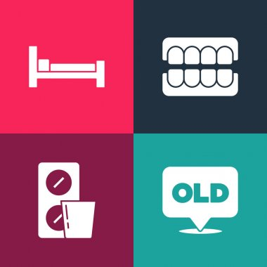 Set pop art Nursing home, Pills blister pack, False jaw and Bed icon. Vector. icon