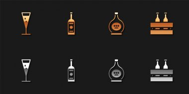 Set Glass of champagne, bottle vodka, Bottle cognac or brandy and Pack beer bottles icon. Vector. icon
