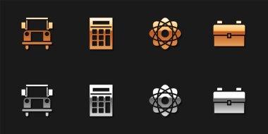 Set School Bus, Calculator, Atom and backpack icon. Vector. icon