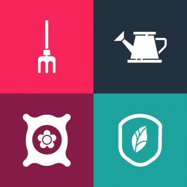 Set pop art Shield with leaf, Pack full of seeds of plant, Watering can and Garden rake icon. Vector. icon