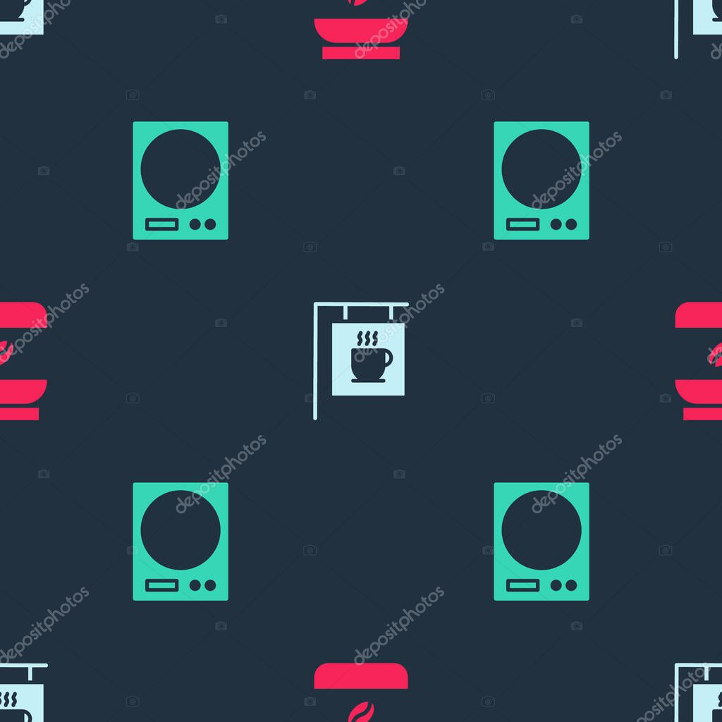 Set Coffee jar bottle  Street signboard coffee and Electronic scales on seamless pattern icon