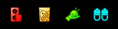Set Pills in blister pack, False jaw glass, Yarn ball with knitting needles and Slippers icon. Vector. icon