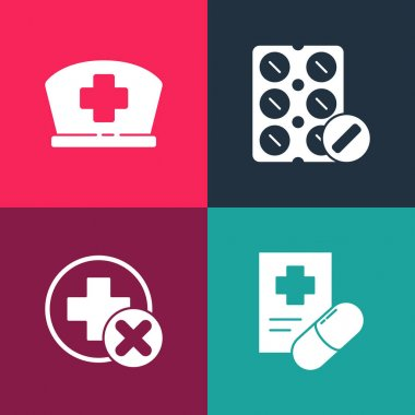 Set pop art Medical prescription, Cross hospital medical, Pills in blister pack and Nurse hat with cross icon. Vector. icon